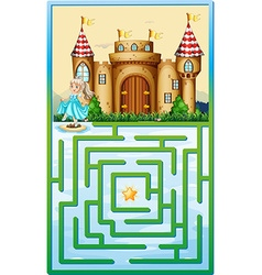 Game template with princess and castle vector image