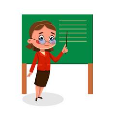 Girl teacher character standing at blackboard vector