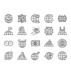 Global business line icon set vector