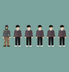 Group of rich men and homeless man character vector
