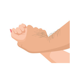 Hairy mans hand holding a woman hand vector