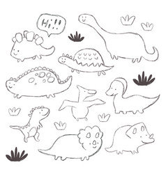 hand drawing dinosaur vector image