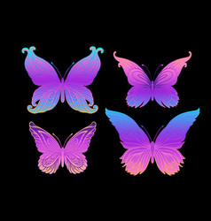 hand drawn butterfly in bright neon colors han vector image