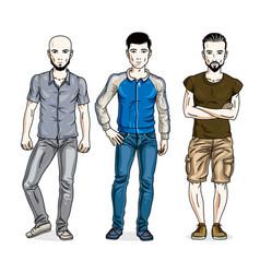 Handsome men group standing wearing casual vector