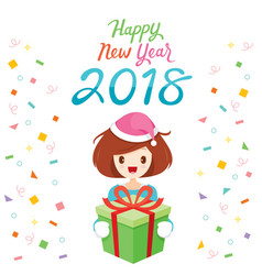happy new year 2018 text and girl with gift box vector image