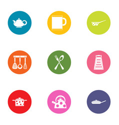 Home kitchen set icons set flat style vector