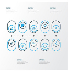 Internet colorful icons set collection of friends vector