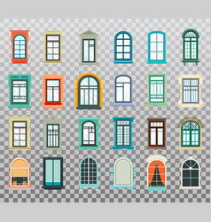isolated set of plastic and wooden window frames vector image