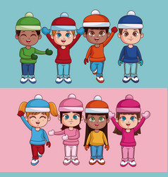 kids with winter clothes vector image