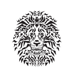 line art of lion head vector image