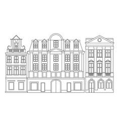 line of european cozy historical buildings vector image