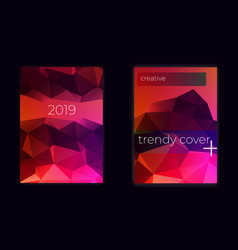 low poly cover layout trendy design vector image