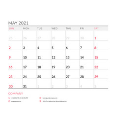 May 2021 monthly calendar planner printable vector
