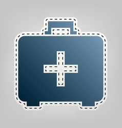 medical first aid box sign blue icon with vector image