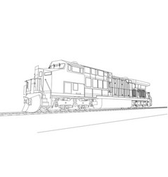 Modern diesel railway locomotive with great power vector