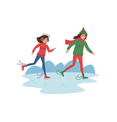 mother and her daughter skating on ice winter vector image