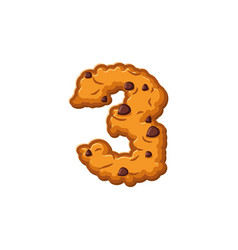 Number 3 cookies font oatmeal biscuit alphabet vector