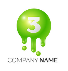 number three splash logo green dots and bubbles vector image