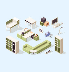 office furniture isometric chairs tables desks vector image
