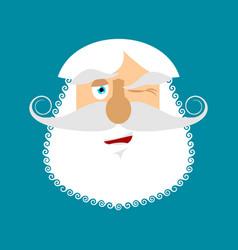 old man winks emoji senior with gray beard face vector image