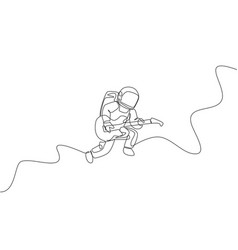 One continuous line drawing astronaut vector