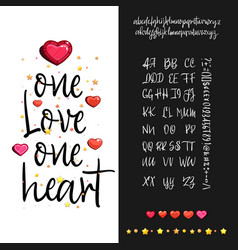 one love one heart handwritten fonts analog vector image