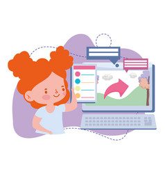 Online education student girl computer study vector