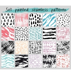 Painted seamless pattern set vector