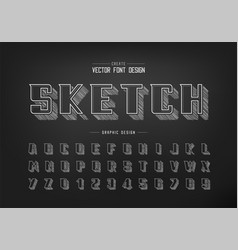 pencil sketch font and bold alphabet chalk vector image