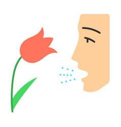 Pollen allergy flat design long shadow color icon vector
