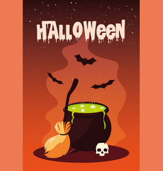 Poster halloween with cauldron and icons vector