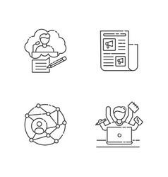 Publication pixel perfect linear icons set vector