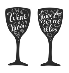 Quotes about wine on wine glass silhouette vector image