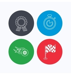 Race flag winner medal and timer icons vector