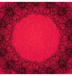 Round frame - vintage floral wreath vector