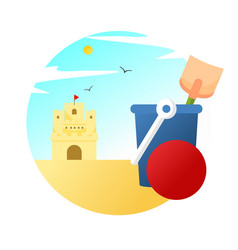 sand castle playing scenery vector image