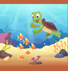 sea underwater background with cartoon turtle vector image