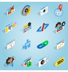 SEO set icons isometric 3d style vector image