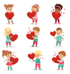 Set of cute kids characters with paper red hearts vector