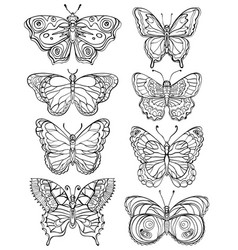 set various forms butterflies black and white vector image