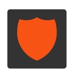 Shield flat orange and gray colors rounded button vector