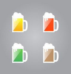 Shiny glasses of beer on a gray background vector