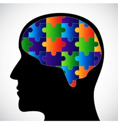 Silhouette with brain vector image vector image