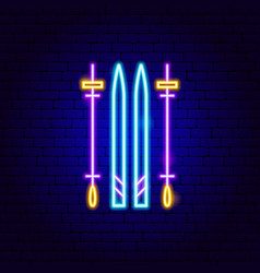 ski neon sign vector image