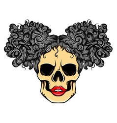 skull baby sexy girl with two bunny vector image