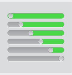 slider bars gray green volume level console vector image