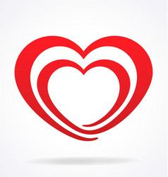 stylised dual valentine heart vector image