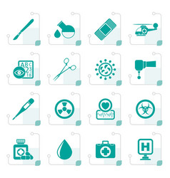stylized medicine and hospital equipment icons vector image