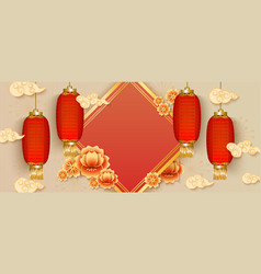 Template with rhomb and chinese lanterns and vector