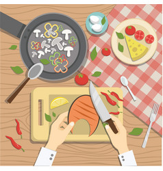 the cook prepares delicious dishes vector image